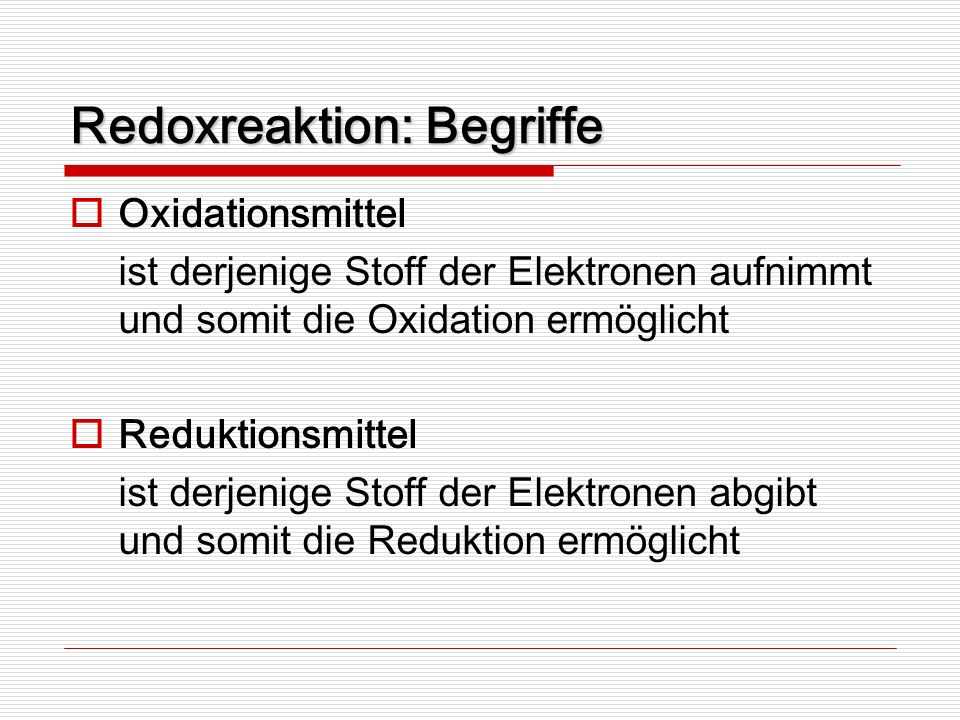 Redoxreaktion: Begriffe