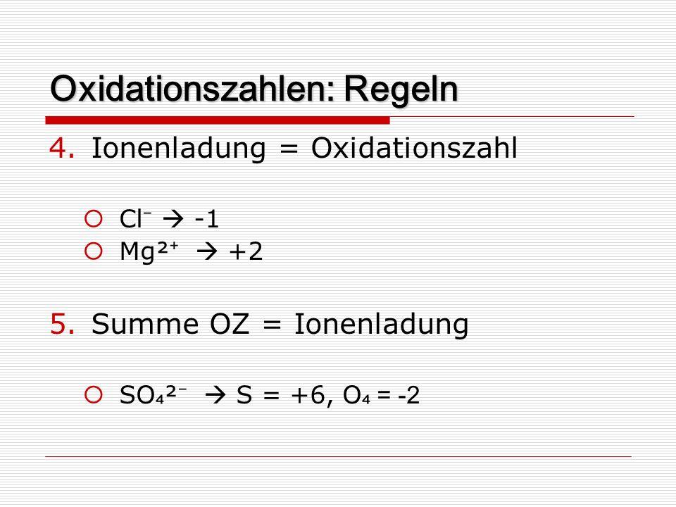 Oxidationszahlen: Regeln