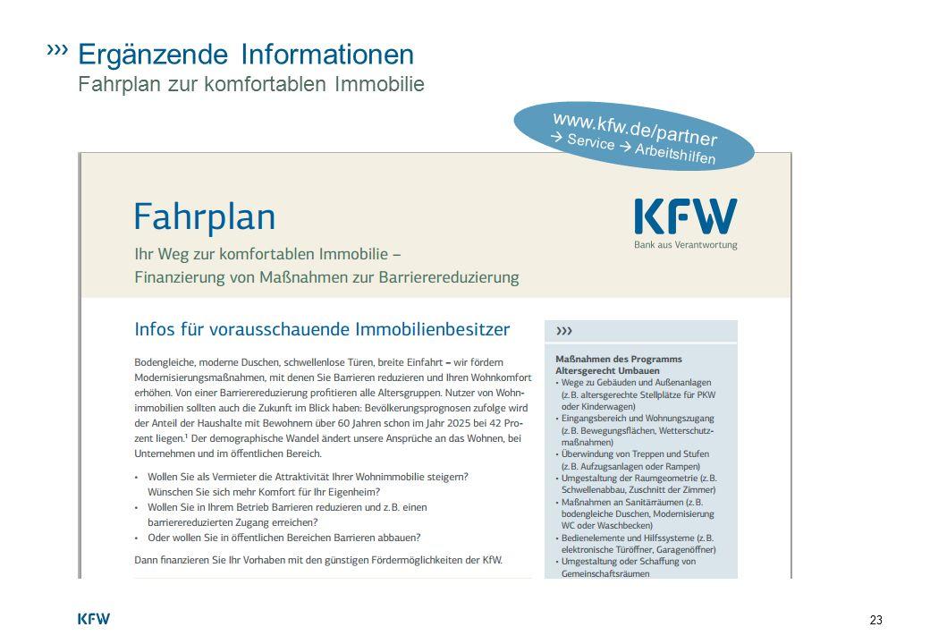 Ergänzende Informationen Fahrplan zur komfortablen Immobilie