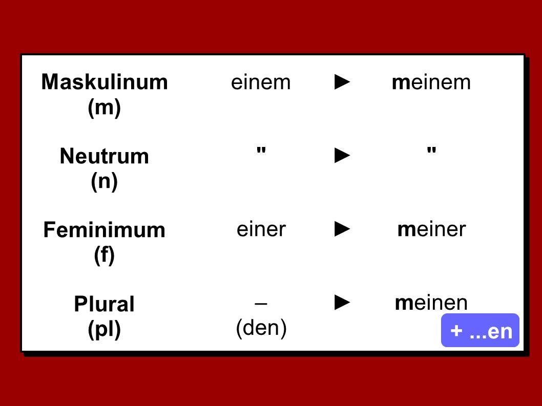 Maskulinum (m) Neutrum. (n) Feminimum. (f) Plural. (pl) einem. ► meinem. ► einer. ►