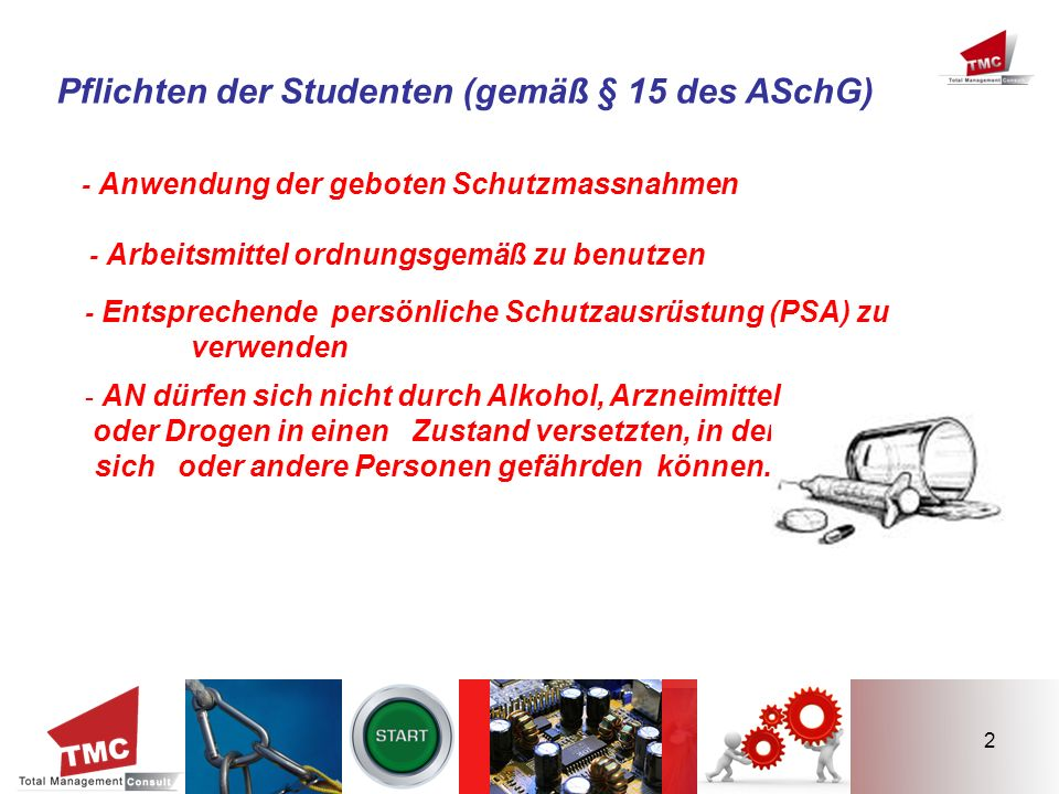 Pflichten der Studenten (gemäß § 15 des ASchG)