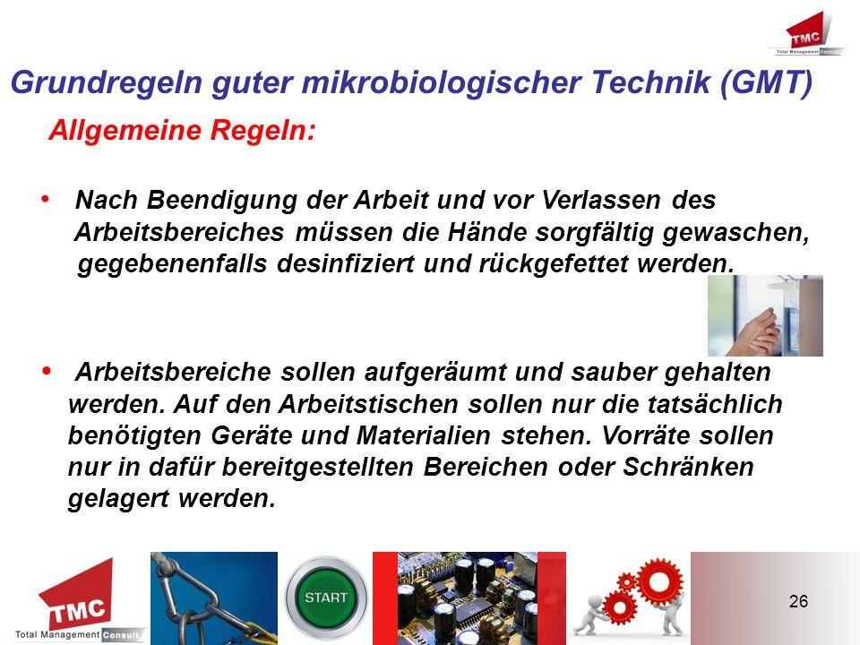 Grundregeln guter mikrobiologischer Technik (GMT)