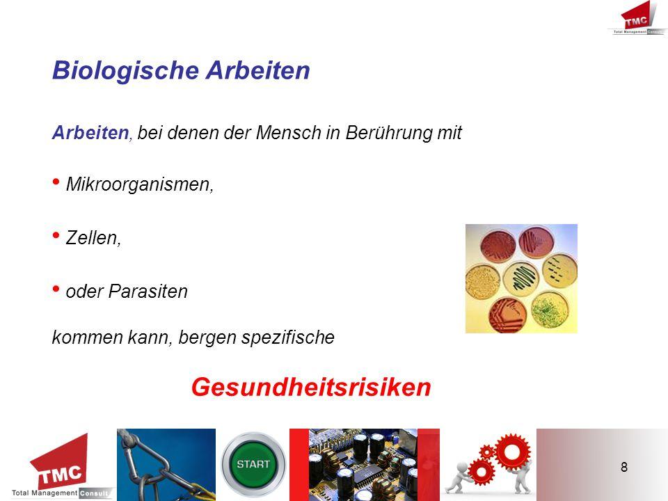Biologische Arbeiten • Mikroorganismen, • Zellen, • oder Parasiten