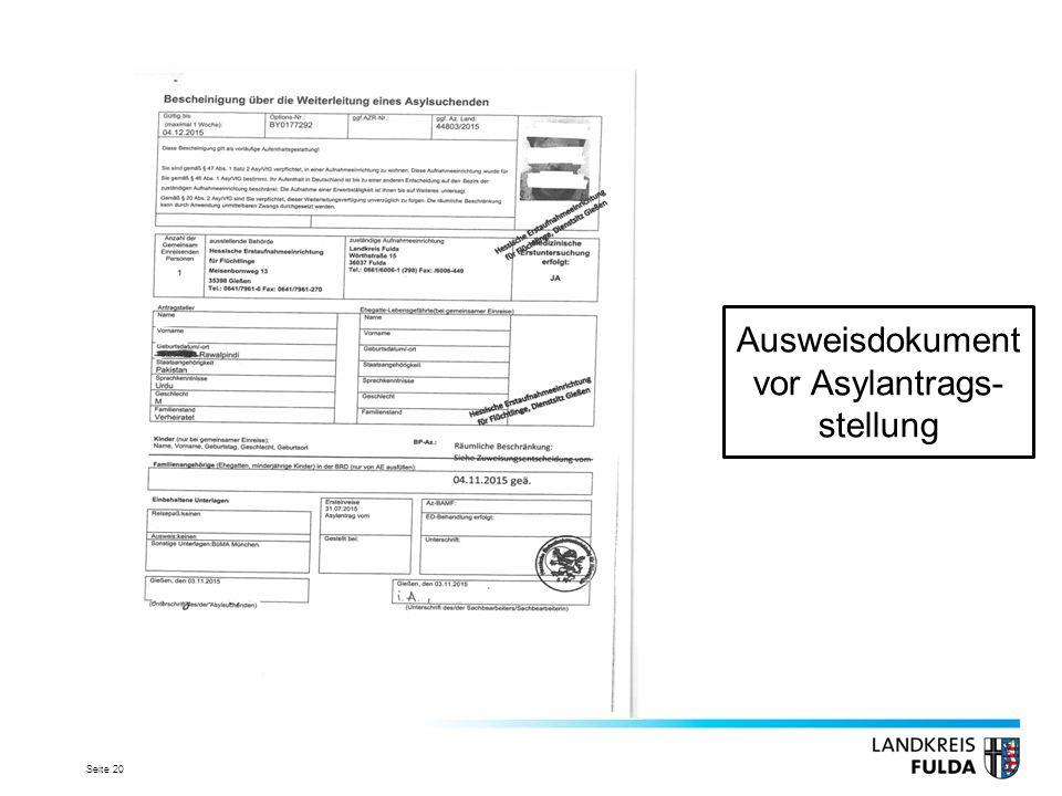 Ausweisdokument vor Asylantrags-stellung