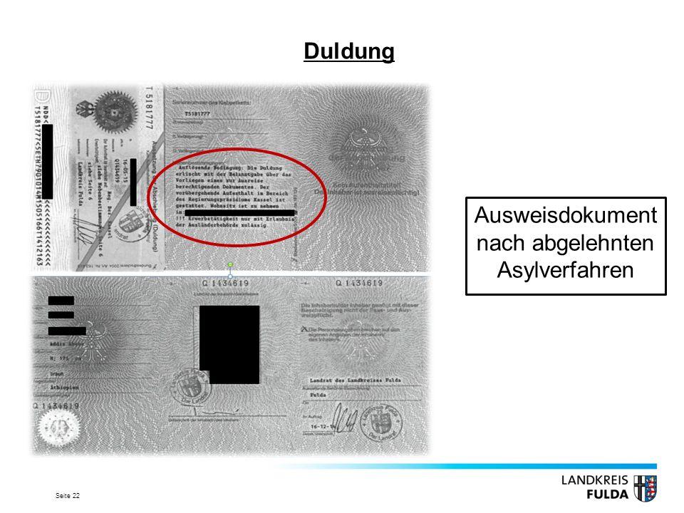 Ausweisdokument nach abgelehnten Asylverfahren