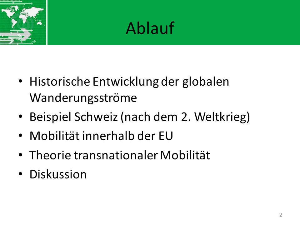 Ablauf Historische Entwicklung der globalen Wanderungsströme