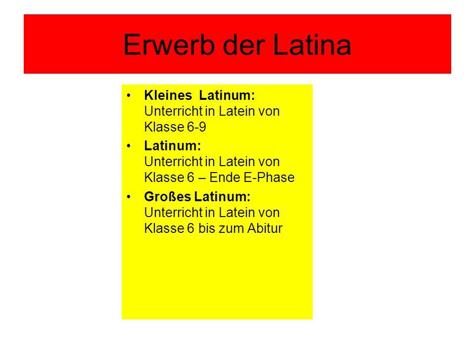 Erwerb der Latina Kleines Latinum: Unterricht in Latein von Klasse 6-9