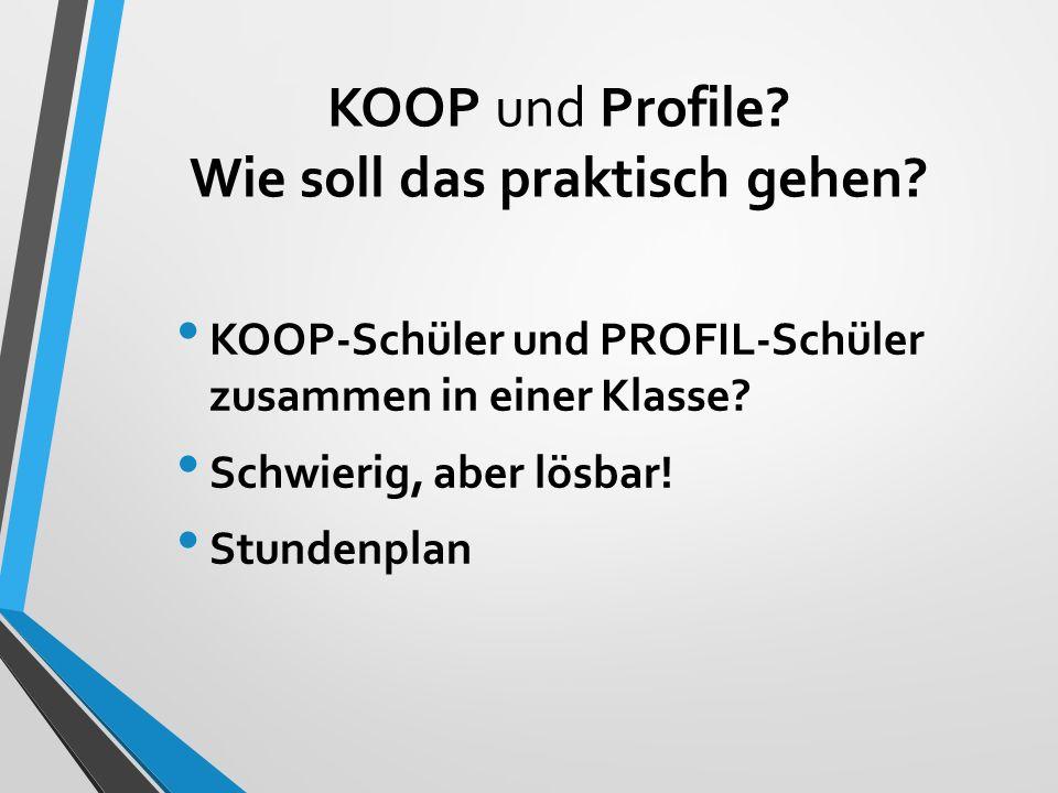 KOOP und Profile Wie soll das praktisch gehen
