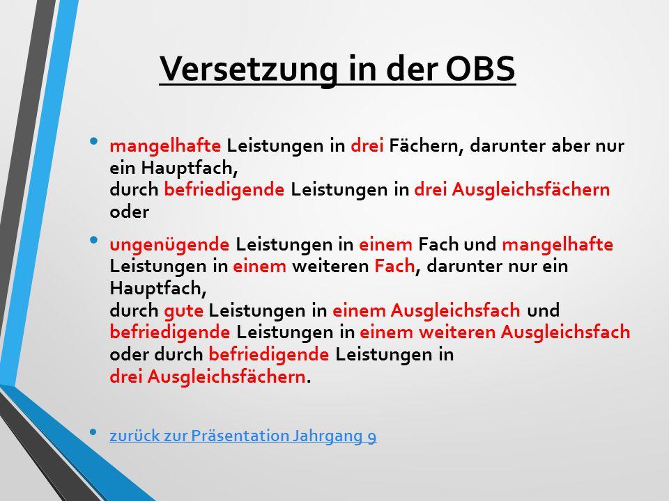 Versetzung in der OBS