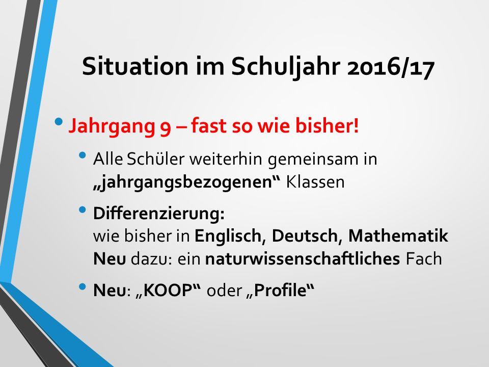 Situation im Schuljahr 2016/17