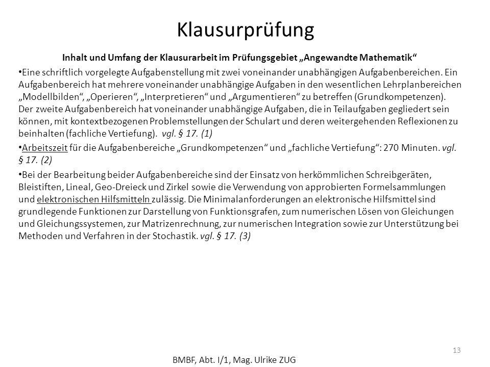 """Klausurprüfung Inhalt und Umfang der Klausurarbeit im Prüfungsgebiet """"Angewandte Mathematik"""
