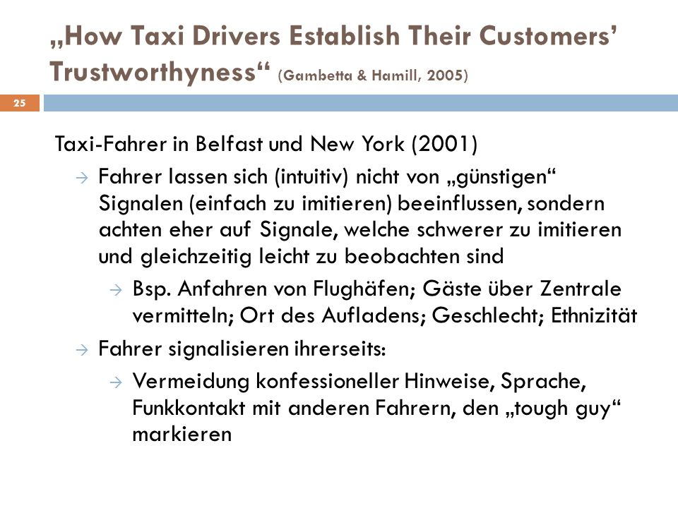 """How Taxi Drivers Establish Their Customers' Trustworthyness (Gambetta & Hamill, 2005)"