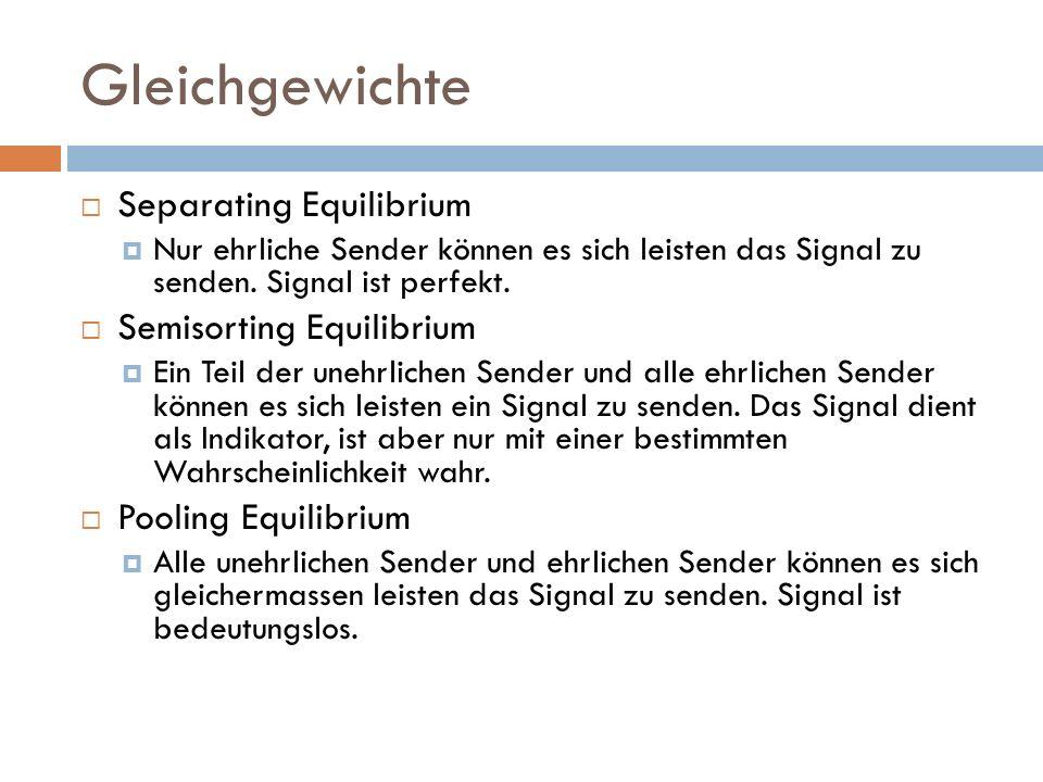 Gleichgewichte Separating Equilibrium Semisorting Equilibrium