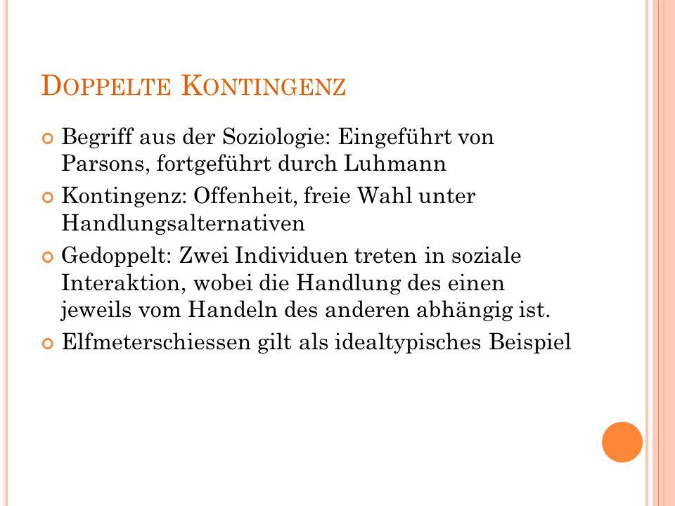 Doppelte Kontingenz Begriff aus der Soziologie: Eingeführt von Parsons, fortgeführt durch Luhmann.