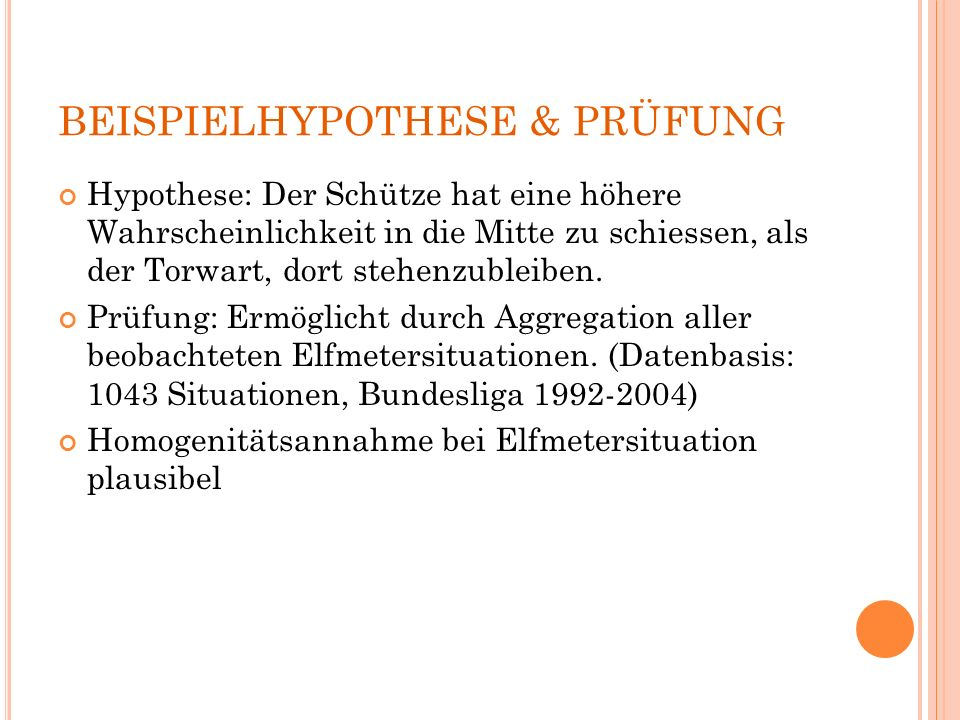 BEISPIELHYPOTHESE & PRÜFUNG