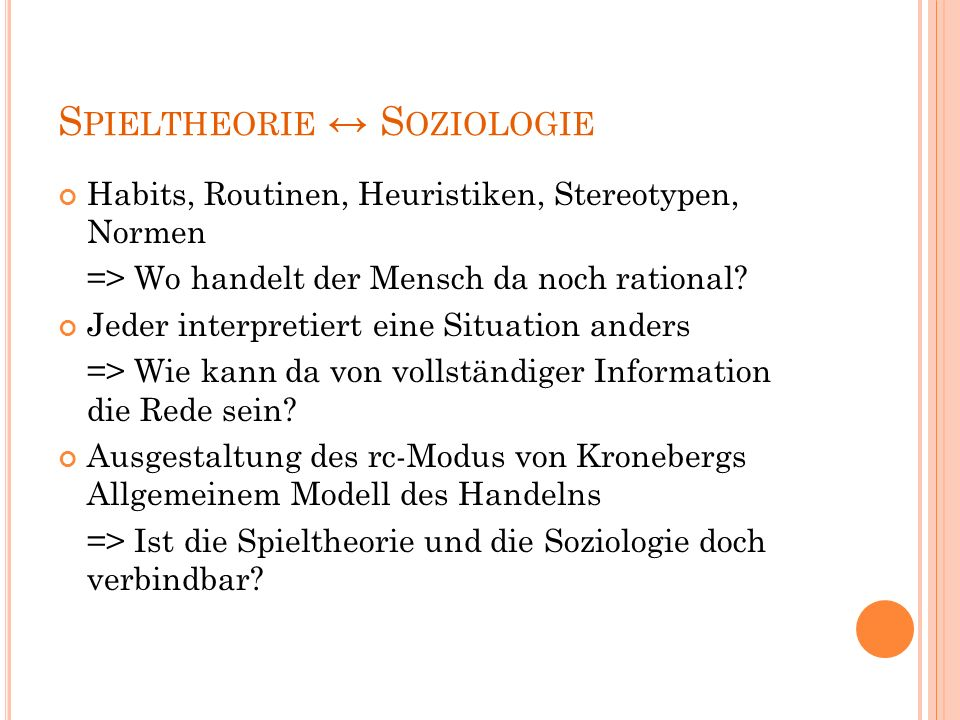 SPIELTHEORIE ↔ SOZIOLOGIE
