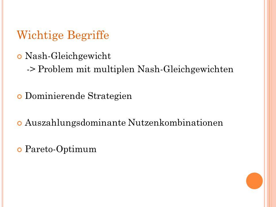 Wichtige Begriffe Nash-Gleichgewicht