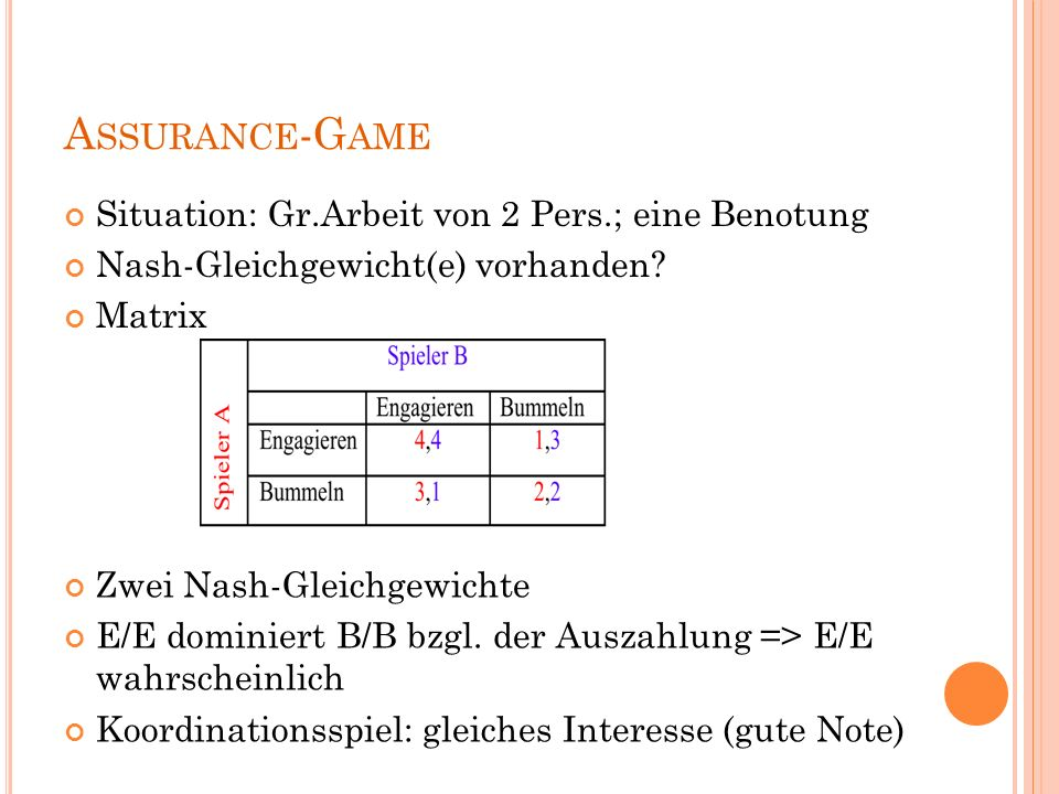 Assurance-Game Situation: Gr.Arbeit von 2 Pers.; eine Benotung