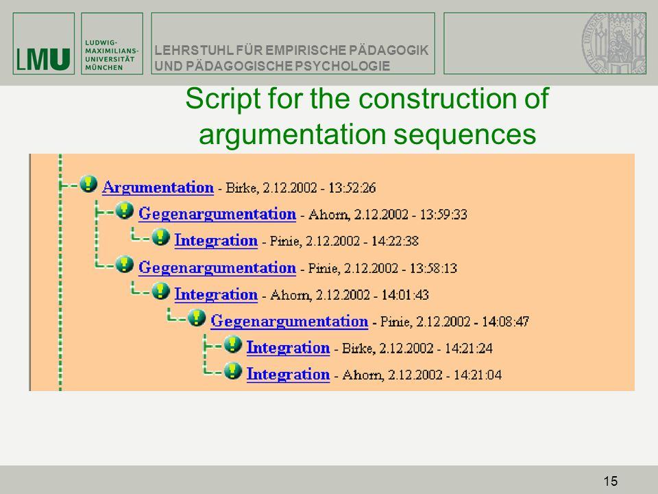Script for the construction of argumentation sequences