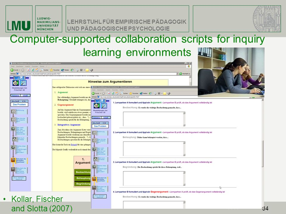 Computer-supported collaboration scripts for inquiry learning environments