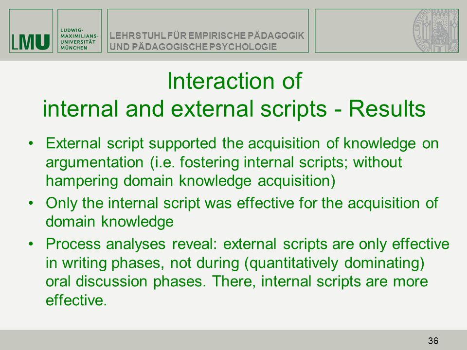 Interaction of internal and external scripts - Results