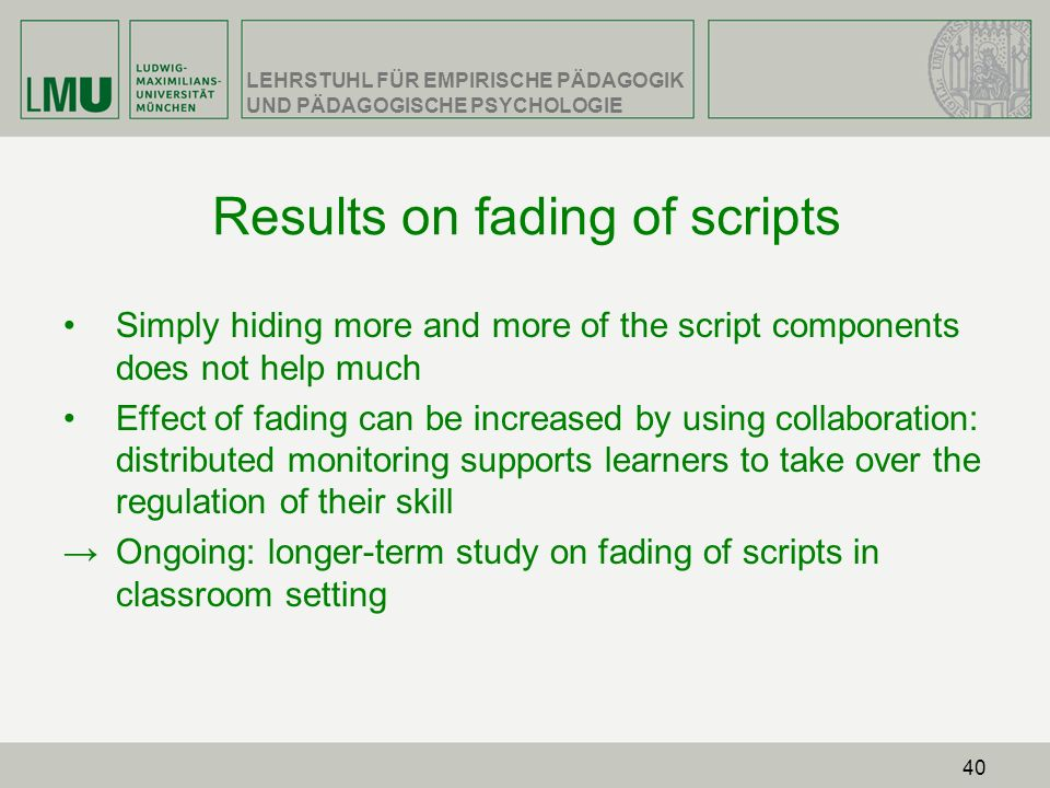 Results on fading of scripts