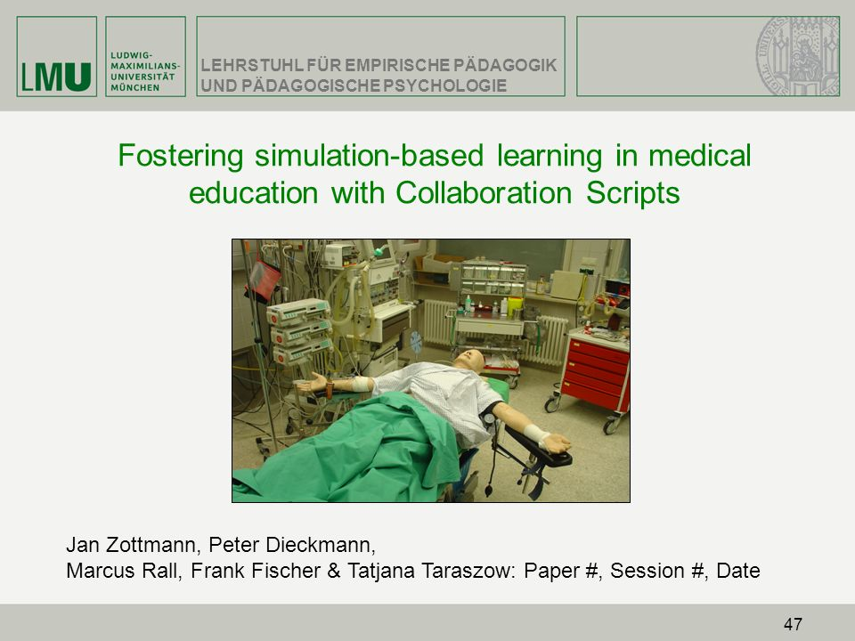 Fostering simulation-based learning in medical education with Collaboration Scripts