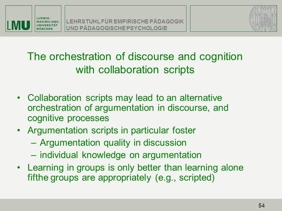The orchestration of discourse and cognition with collaboration scripts