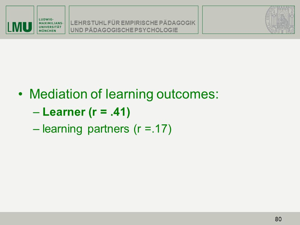 Mediation of learning outcomes: