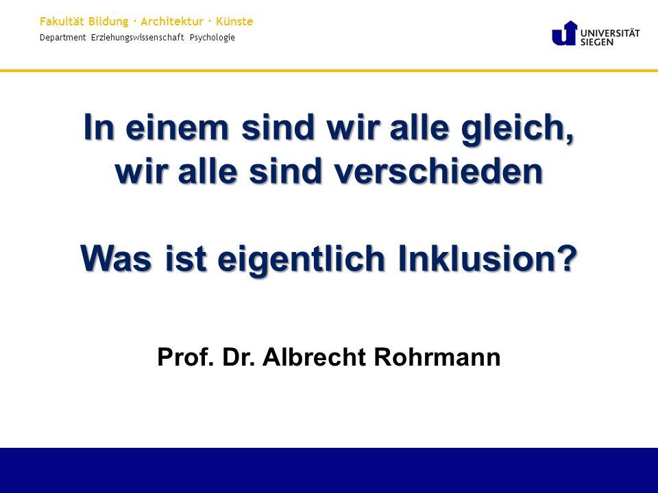Prof. Dr. Albrecht Rohrmann