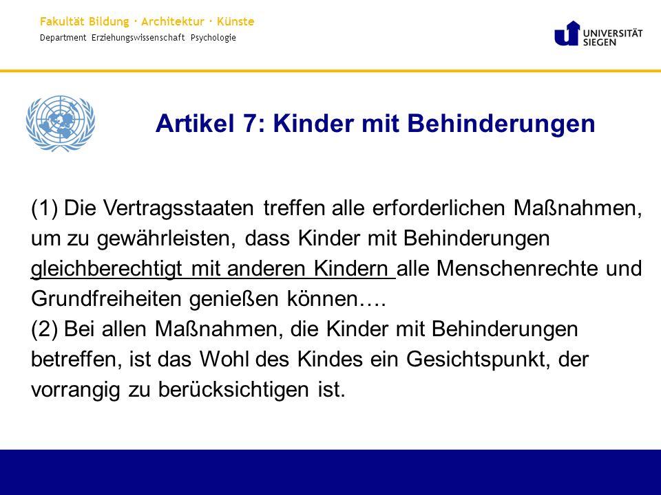 Artikel 7: Kinder mit Behinderungen