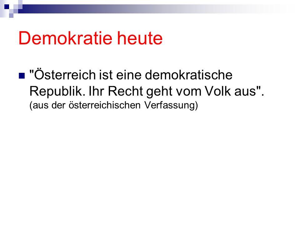 Demokratie heute Österreich ist eine demokratische Republik.
