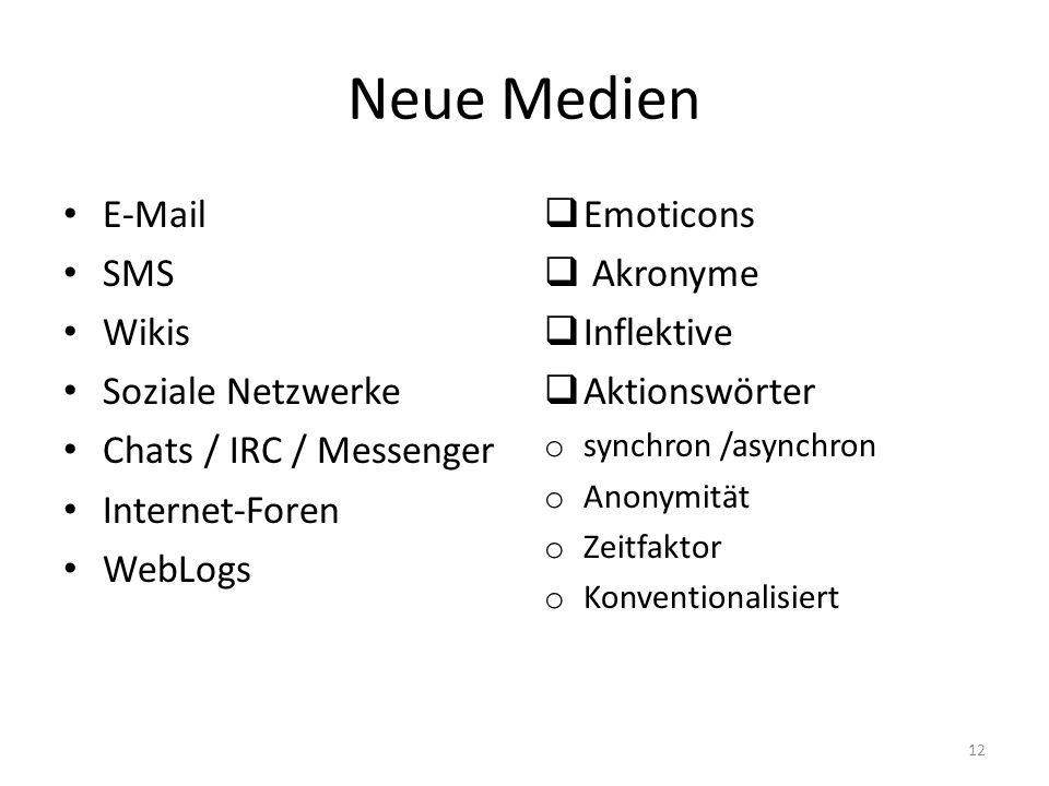 Neue Medien E-Mail SMS Wikis Soziale Netzwerke Chats / IRC / Messenger