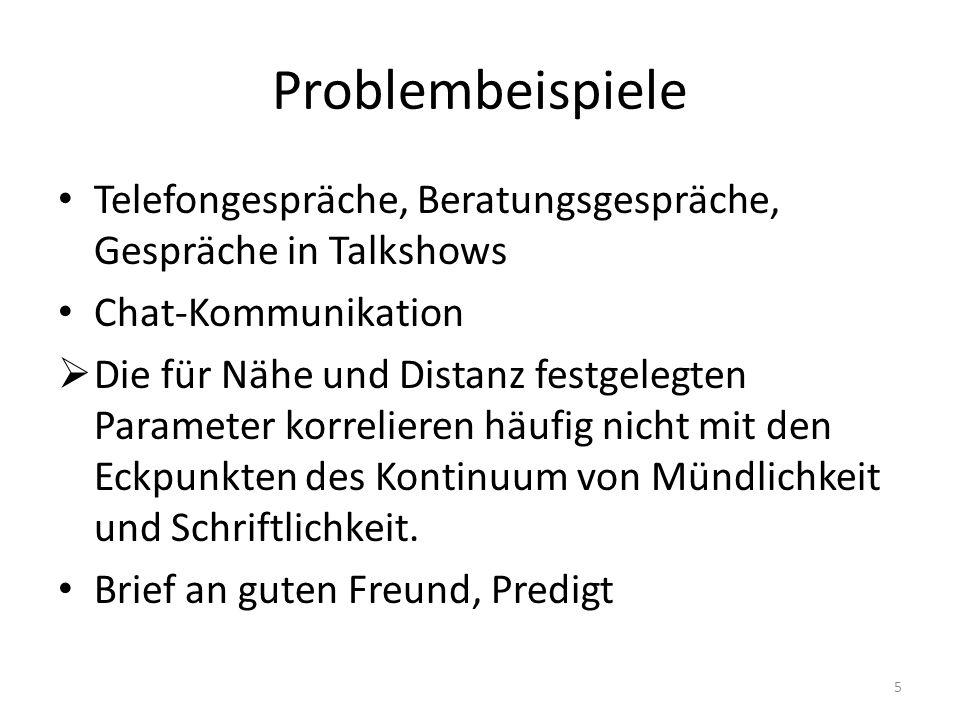 Problembeispiele Telefongespräche, Beratungsgespräche, Gespräche in Talkshows. Chat-Kommunikation.