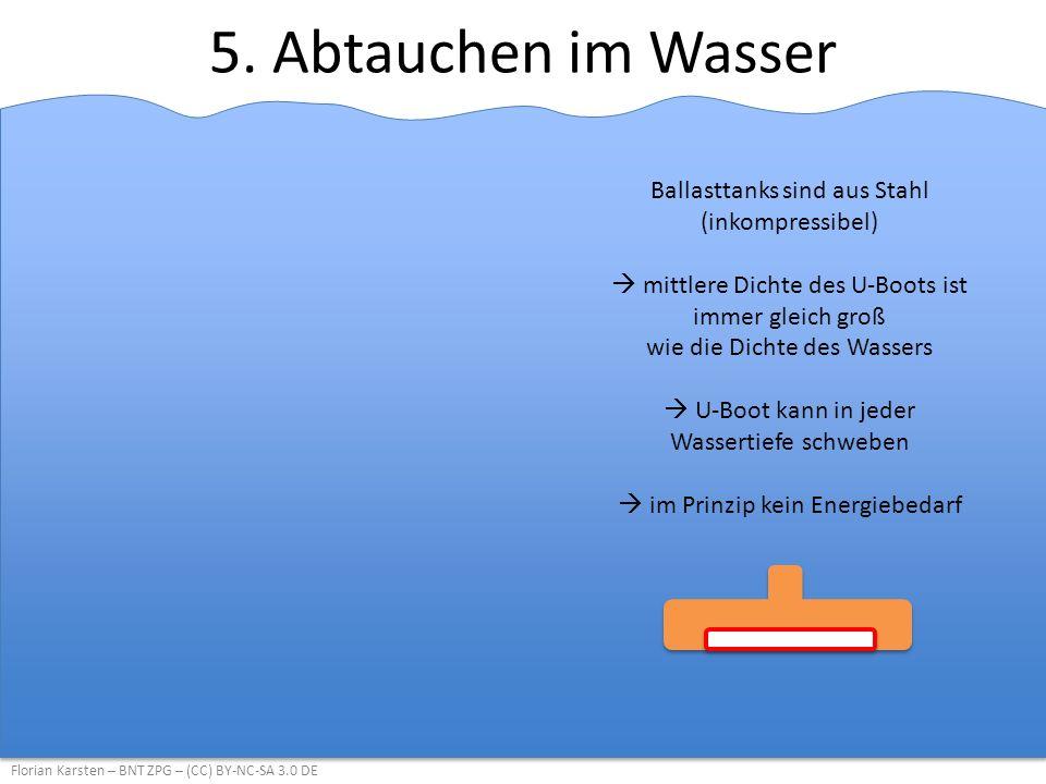 5. Abtauchen im Wasser Ballasttanks sind aus Stahl (inkompressibel)