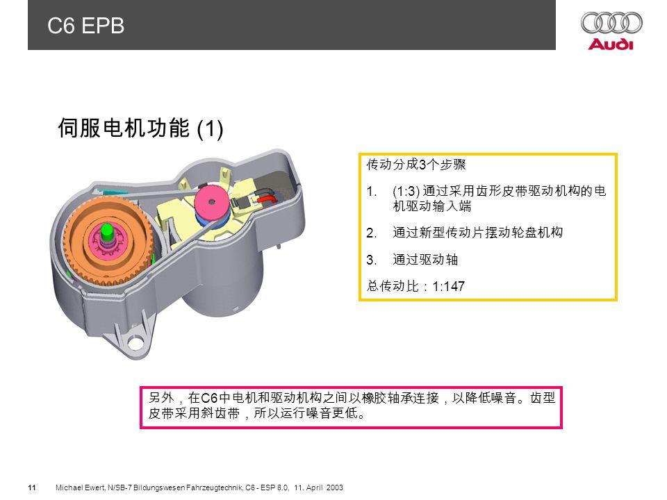 伺服电机功能 (1) 传动分成3个步骤 (1:3) 通过采用齿形皮带驱动机构的电 机驱动输入端 通过新型传动片摆动轮盘机构 2 通过驱动轴