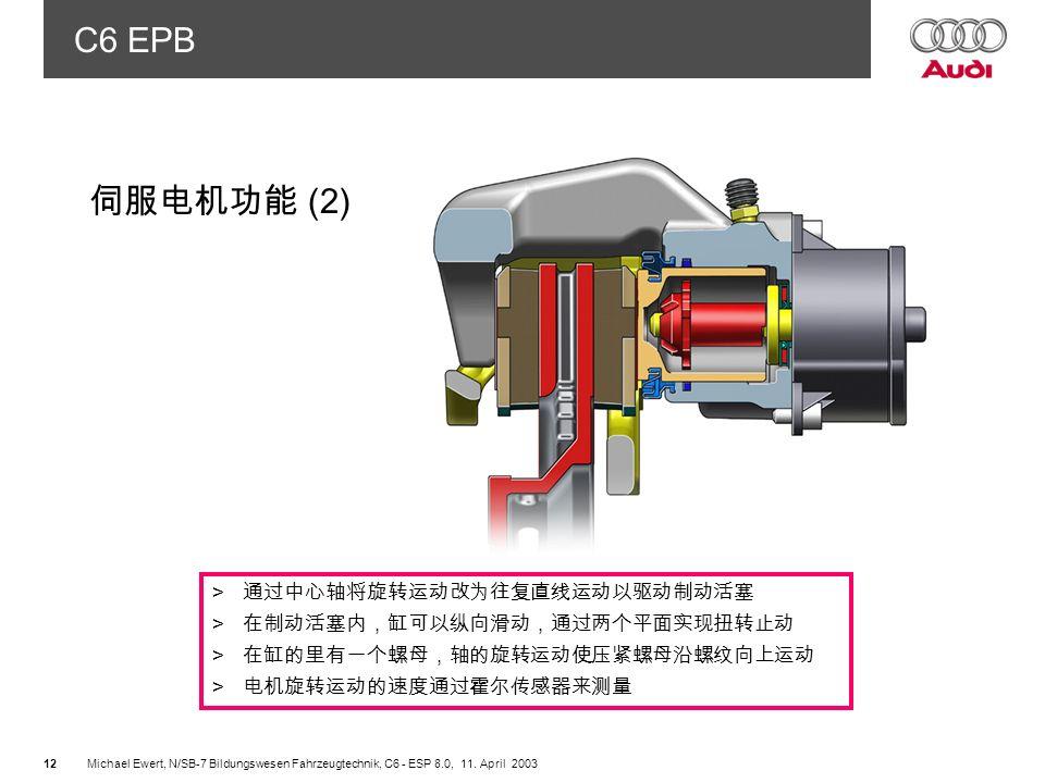 伺服电机功能 (2) 通过中心轴将旋转运动改为往复直线运动以驱动制动活塞 在制动活塞内,缸可以纵向滑动,通过两个平面实现扭转止动