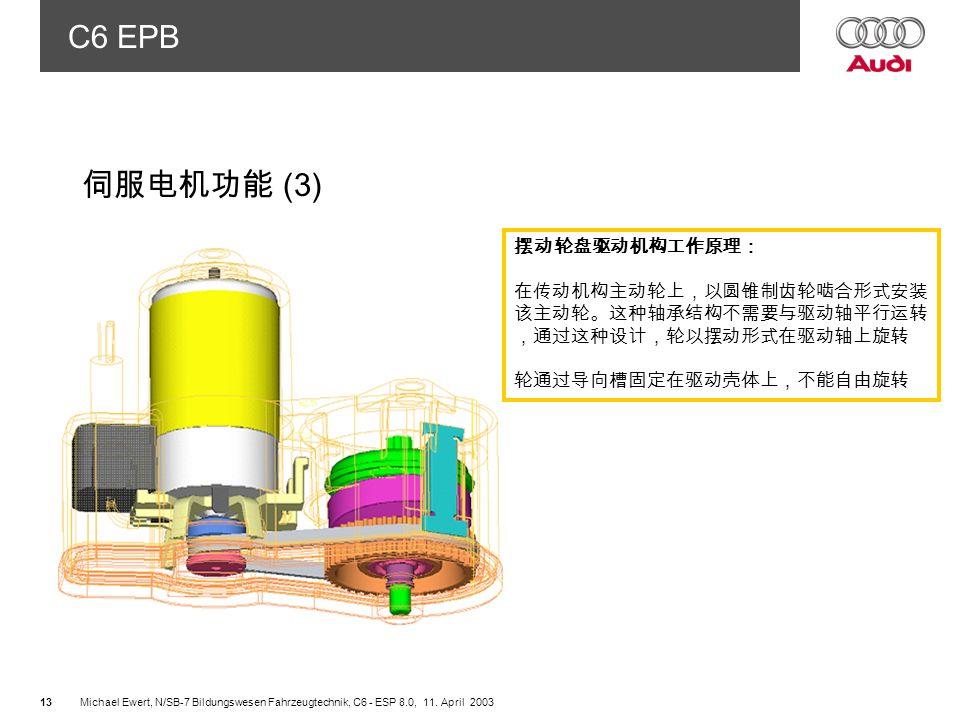 伺服电机功能 (3) 摆动轮盘驱动机构工作原理: