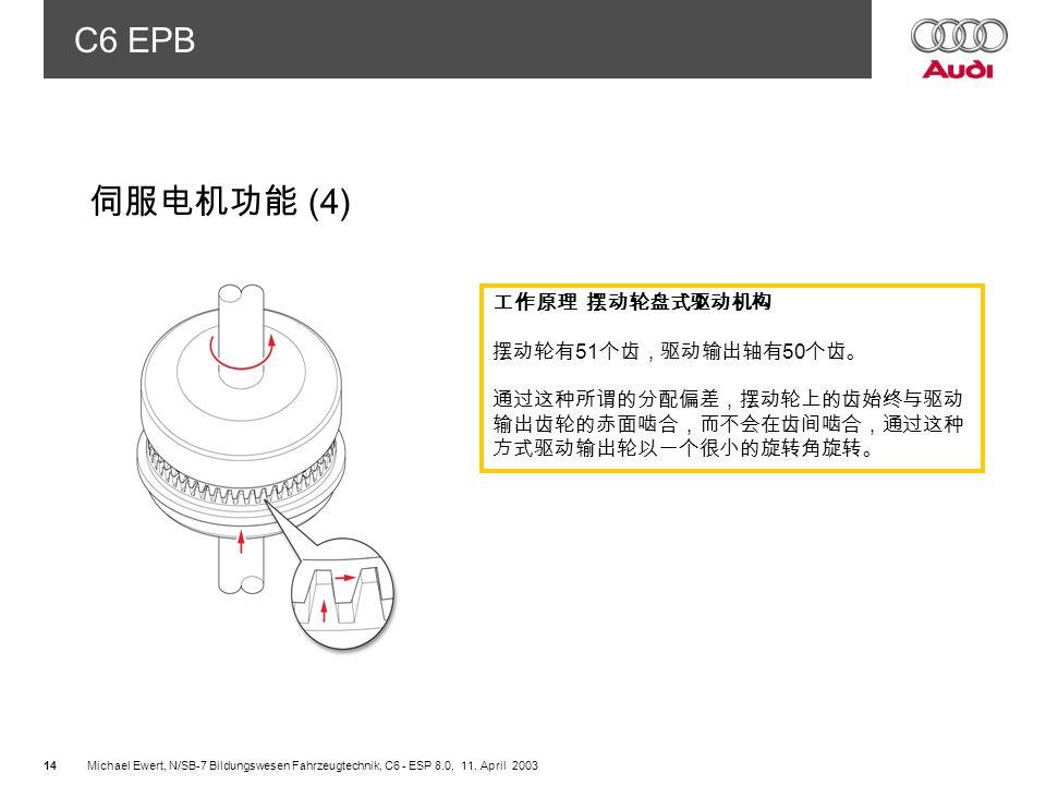 伺服电机功能 (4) 工作原理 摆动轮盘式驱动机构 摆动轮有51个齿,驱动输出轴有50个齿。