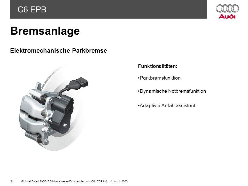 Bremsanlage Elektromechanische Parkbremse Funktionalitäten:
