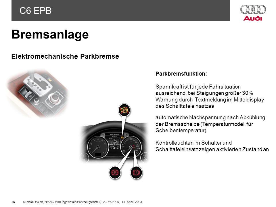 Bremsanlage Elektromechanische Parkbremse Parkbremsfunktion: