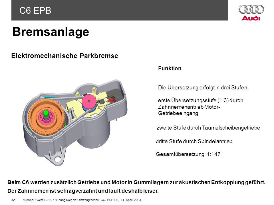 Bremsanlage Elektromechanische Parkbremse Funktion