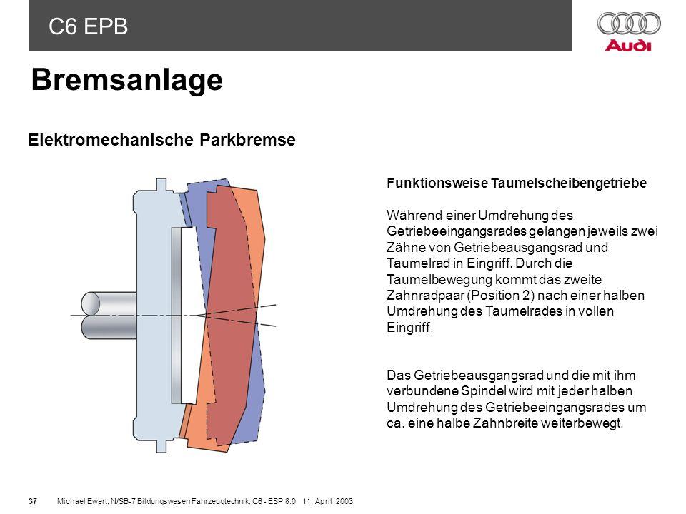 Bremsanlage Elektromechanische Parkbremse