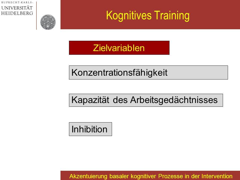 Kognitives Training Zielvariablen Konzentrationsfähigkeit