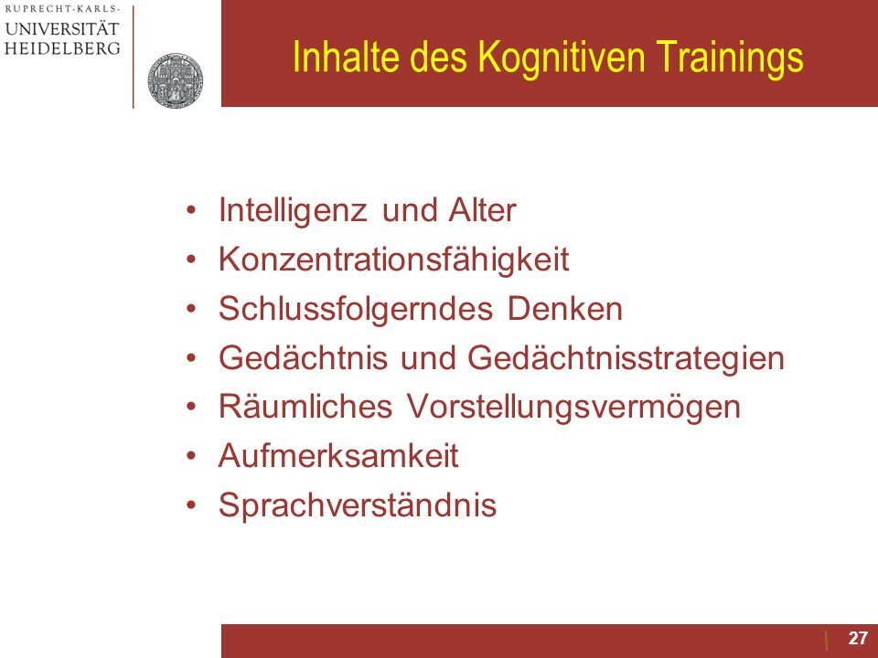 Inhalte des Kognitiven Trainings