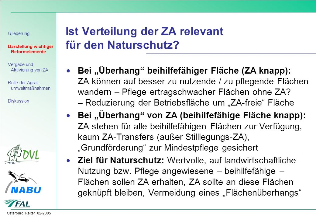 Ist Verteilung der ZA relevant für den Naturschutz