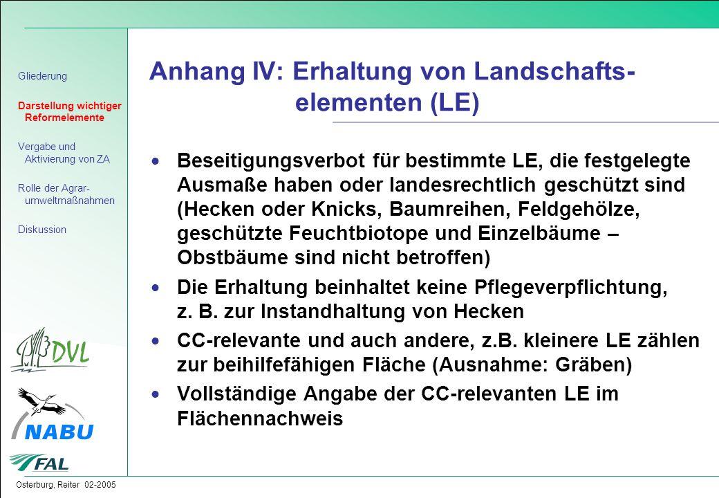 Anhang IV: Erhaltung von Landschafts- elementen (LE)