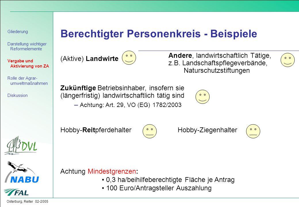 Berechtigter Personenkreis - Beispiele