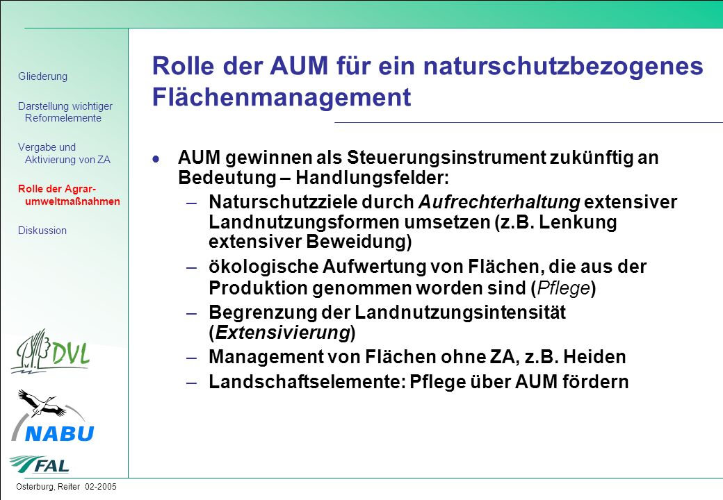 Rolle der AUM für ein naturschutzbezogenes Flächenmanagement