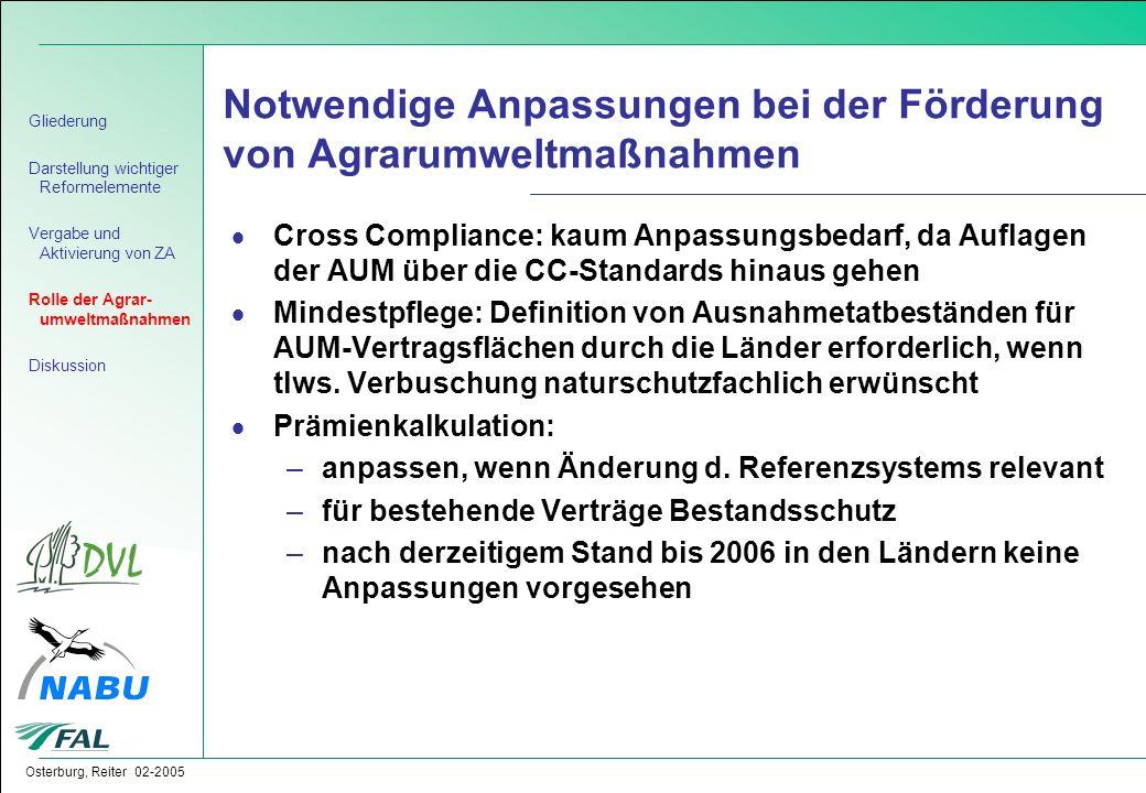 Notwendige Anpassungen bei der Förderung von Agrarumweltmaßnahmen